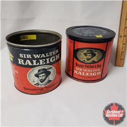 "Collector Combo (2) : Sir Walter Raleigh Smoking Tobacco Tin  (5"" x 5"") & Sir Walter Raleigh Smoking"