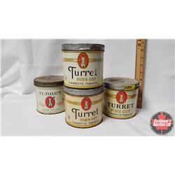 "Collector Combo (4 Tins) : Turret Fine Cut Cigarette Tobacco Tins (4""x4"")"
