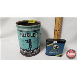 "Collector Combo (2) : Bugler Tobacco Tin (No Lid) (5-1/2"" x 4"") & Bugler Cigarette Case (Pocket Tin)"