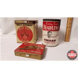 "Collector Combo (3) : Factory Fresh Headline Cigars Vacuum Packed Invincibles Tin (6"" x 4"") & Panter"