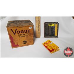 "Collector Combo (3) : Vogue Cigarette Tobacco Mild 65¢ Box (Cardboard) (4"" x 4"" x 3-1/2"") & Vogue Ci"