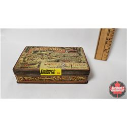 "Log Cabin Flaked Gold Leaf Cavendish Tin (4-3/4"" x 3"" x 1"")"