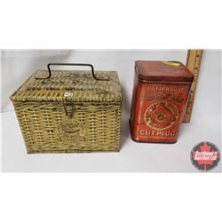 """Collector Combo (2) : Patterson's Seal Cut Plug """"It's the Quality"""" Lunch Box Tin (4-1/4"""" x 6-1/2"""" x"""
