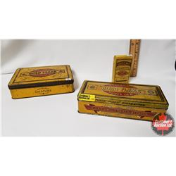 "Collector Combo (3): ""Gold Flake"" W.D & H.O Wills Cigarettes Tin (1-1/2"" x 6"" x 4-1/4""), ""Gold Flake"