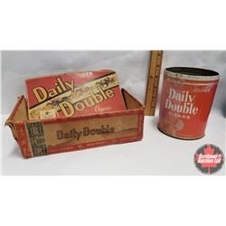 """Collector Combo (2) : Daily Double Cigar Box (9"""" x 5"""" x 3"""") & Daily Double Cigars Tin (No Lid) (5"""" x"""