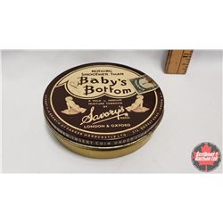 """""""Nothing Smoother Than Baby's Bottom"""" by Savory's Tobacco Can (Full) (4"""" x 1"""")"""