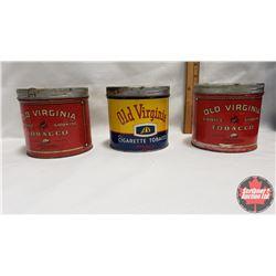 """Collector Combo (3) : Old Virginia Choice Smoking Tobacco Tin 65¢ (4"""" x 4-1/2"""") & Old Virginia Cigar"""