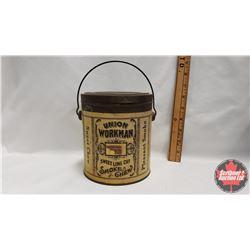 """Union Workman Sweet Long Cut Smoke or Chew Pail (Paper Label) (6-1/4"""" x 5-1/2"""")"""