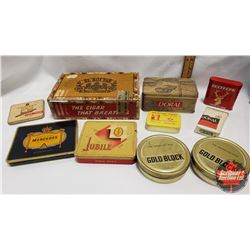 Collector Combo: El Roi-Tan Cigar Box & Variety of 9 Tins/Packages (Including: Mercedes, Jubile, Buc