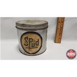 "Spud Tobacco Tin (Round Paper Label) (4-1/4"" x 4-1/4"")"