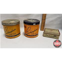 "Collector Combo (3) : Buckingham Fine Cut Selected Leaf Tobacco Tin (4"" x 4-1/4"") & Buckingham Fine"