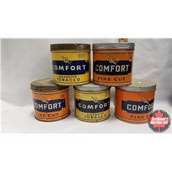 """Collector Combo (5) (All 4-1/4"""" x 4-1/4"""") : Comfort Cigarette Tobacco Tin 55¢ & Comfort Cigarette To"""