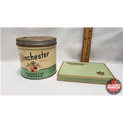 """Collector Combo (2) : Winchester Blended Cigarette Tobacco Tin (4-1/4"""" x 4-1/4"""") & Winchester Cigare"""