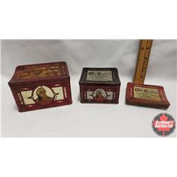 """Collector Combo (3) : Old English Curve Cut Pipe Tobacco Tin (2-3/4"""" x 4-3/4"""" x 3-1/2"""") & Old Englis"""