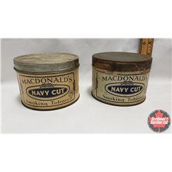"""Collector Combo (2) : MacDonald's Navy Cut Smoking Tobacco 25¢ Tin (3"""" x 4-1/4"""") & MacDonald's Navy"""