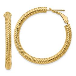 14k Yellow Gold Twisted Round Omega Back Hoop Earrings - 30 mm