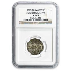 1685 German States Nurnberg Silver Pfennig MS-65 NGC