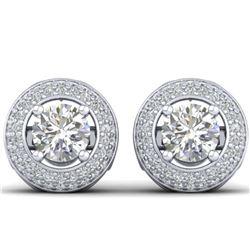 2 ctw VS/SI Cushion Diamond Art Deco Stud Earrings 14K Yellow Gold