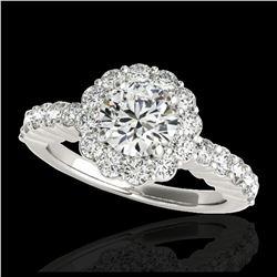 2.07 ctw Intense Blue Diamond Art Deco 3 Stone Ring 18K White Gold
