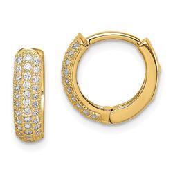 14k Yellow Gold Cubic Zirconia Hinged Hoop Earrings - 39 mm