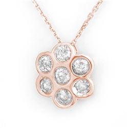 1 ctw SI Diamond Solitaire Halo Necklace 14K White Gold