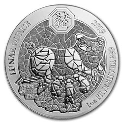 2019 Rwanda 1 oz Silver Lunar Year of the Pig BU