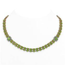 34.11 ctw Emerald & Diamond Halo Necklace 10K Yellow Gold