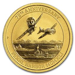 2016 Tuvalu 1/10 oz Gold Pearl Harbor BU
