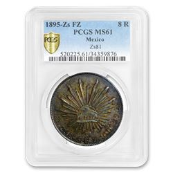 1895 Zs FZ Mexico Silver 8 Reales MS-61 PCGS