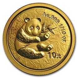 2000 China 1/10 oz Gold Panda Frosted BU (In Capsule)