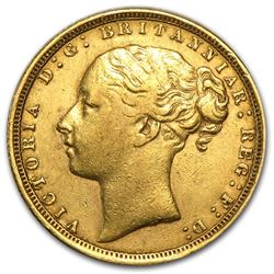 1871-1887 Great Britain Gold Sovereign Young Victoria Avg Circ
