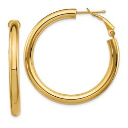 14k Yellow Gold Polished Round Hoop Earrings - 30 mm