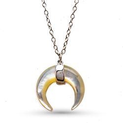Sterling Silver Rhodium-Plated 16' Mother of Pearl Moon Necklace