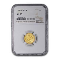 1840-C $2.50 Liberty Gold Quarter Eagle AU-58 NGC