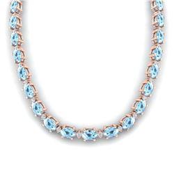 34 ctw Tanzanite & Diamond Necklace 14K White Gold