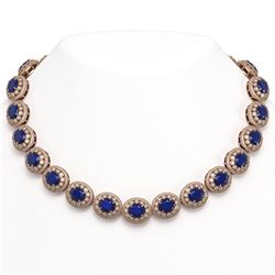 9.02 ctw Orange Sapphire & Diamond Necklace 18K White Gold