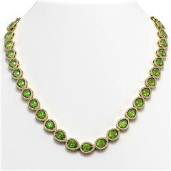 55.41 ctw London Topaz & Diamond Halo Necklace 10K Yellow Gold