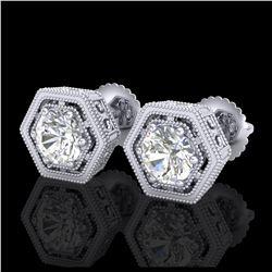 2 ctw Citrine & VS/SI Diamond Earrings Heart 14K White Gold