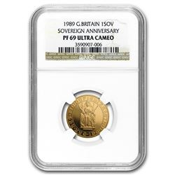 1989 Great Britain Gold Sovereign 500th Anniv PF-69 NGC