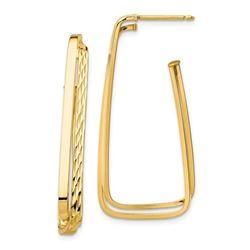 14k Yellow Gold Polished & D/C Fancy Post Earrings - 38 mm