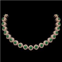 82.17 ctw Ruby & Diamond Necklace 14K Rose Gold