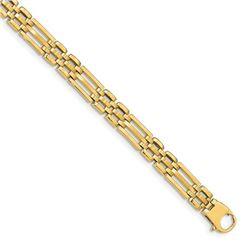Men's 14k Yellow Gold Satin & Polished Link Bracelet - 8.5 in.