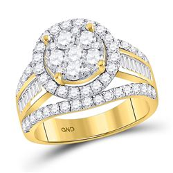 14kt Yellow Gold Round Diamond Cluster Bridal Wedding Engagement Ring 1/4 Cttw