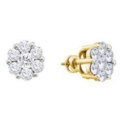 14kt Yellow Gold Round Diamond Rectangle Huggie Hoop Earrings 1/20 Cttw