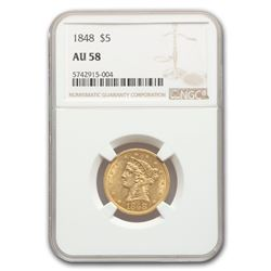 1848 $5 Liberty Gold Half Eagle AU-58 NGC