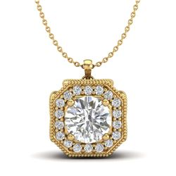 31.1 ctw Tourmaline & Diamond Halo Necklace 10K Rose Gold