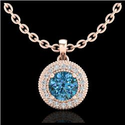 1.75 ctw Garnet & VS/SI Diamond Ring Halo 14K Rose Gold