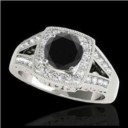 1.50 ctw Intense Blue Diamond Necklace 10K Rose Gold