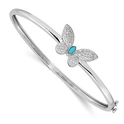 14k White Gold .262ct Diamond Turquoise Butterfly Bangle - 7 in.