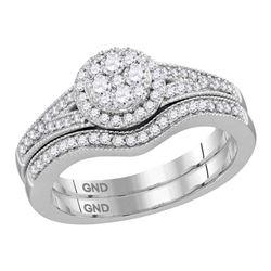 14kt White Gold Princess Diamond Bridal Wedding Engagement Ring Band Set 1-5/8 Cttw
